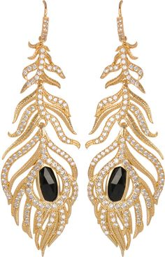 Kendra Scott Pave Linear Feather Earrings, Black on shopstyle.com