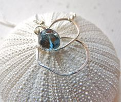 London blue topaz necklace Initial letter B by PingyPieJewelry, $72.00