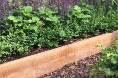 Verhoogde border met dikke houten plank.