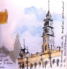 Dunedin Town Hall – a lovely old building. I learnt to sketch quickly in NZ – travelling with a group on non-sketchers and on many occasions, it was very cold outdoors.
