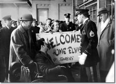 March 7, 1960  Elvis wanted to confer with Gary Pepper, a 27 year-old cerebral palsy victim who had recently taken over the Tankers Fan Club (Elvis had been assigned to a tank corps) and was holding a 'Welcome Home, Elvis, The Tankers' sign . Pepper was wheeled through the crowd, and they had a brief meeting. Pepper apologizing that there wasn't a bigger turnout, it was a school day, after all. Elvis bit his lip and seemed to be trying to repulse tears, and said, 'I'll see you later, pal'.