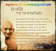 La vida me ha enseñado Citation Gandhi, Gandhi Quotes, Motivational Phrases, Inspirational Quotes, Mahatma Gandhi, Positive Mind, Osho, Spanish Quotes, Life Inspiration
