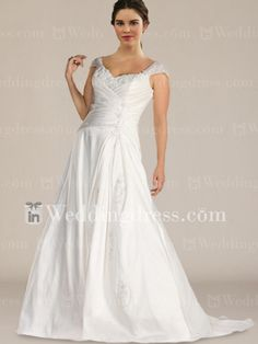Plus Size Wedding Dress with Detachable Cap Sleeves PS068