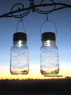 Twist-on, solar-powered lids by TreasureAgain@etsy, make these jars look like they've captured fireflies- HGTV blog