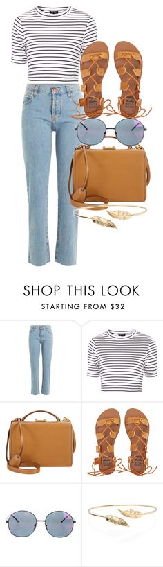 """Untitled #4285"" by olivia-mr ❤ liked on Polyvore featuring Current/Elliott, Topshop, Mark Cross, Billabong, Illesteva and Meadowlark"