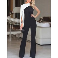 The fashion single sleeve solid color stitching jumpsuit is so fashionable and elegant. The fashion single sleeve solid color stitching jumpsuit is so fashionable and elegant. 50 Fashion, Look Fashion, Skirt Fashion, Fashion Dresses, Womens Fashion, Fashion Tips, Fashion Design, Classy Fashion, Petite Fashion