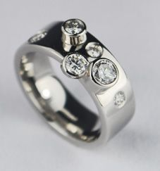 Hand made contemporary platinum & diamonds ring, by Colette Hazelwood  Cost approx £3000