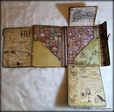 Vic's Creations: Compendium of Curiosities iii Challenge - Jazz World Tour, Collection Folio Mini Album Scrapbook, Scrapbook Pages, Vintage Scrapbook, Mini Albums, Art Carte, Altered Books, Mini Album Tutorial, Mini Books, Travel Journals