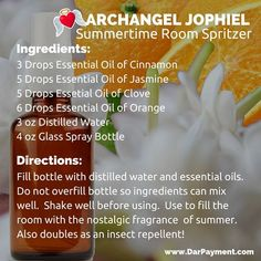 Archangel Jophiel Summertime Room Spritzer. Use to fill the room with the nostalgic fragrance of summer. Also doubles as an insect repellent! #archangels, #archangel jophiel, #essential oils