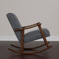 Granite Grey Fabric Retro Wooden Rocker Chair
