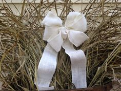 Ivory Burlap bow rustic country wreath creme color bow, Chair Pew wedding off white fall winter gift package bows