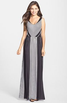 FELICITY & COCO Stripe V-Neck Maxi Dress (Regular & Petite) (Nordstrom Exclusive) available at #Nordstrom