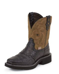 Women's Black Ostrich Print Boot - L9968