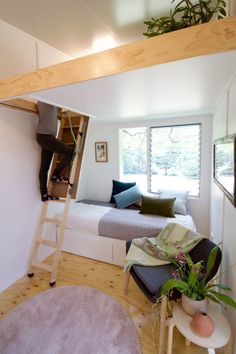 Beautiful Swallowtail Tiny House on Wheels by The Tiny House Company out of Queensland, Australia! Tiny House Company, Tiny House Swoon, Best Tiny House, Tiny House Living, Tiny House Plans, Tiny House On Wheels, Living Room, Small Room Design, Tiny House Design
