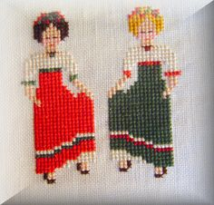 0 point de croix 2 paysannes - cross stitch 2 peasant country girls