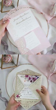 Wedding Invitations Diy Videos Envelope For 2019 Laser Cut Wedding Invitations, Beautiful Wedding Invitations, Wedding Invitation Cards, Wedding Cards, Wedding Stationery, Diy Wedding Video, Wedding Videos, Invitation Kits, Diy Invitations
