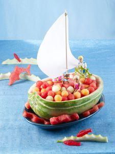 carve a water melon pirate ship
