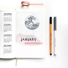 Bullet journal monthly cover page, water drawing, January cover page ---- @bujo.j