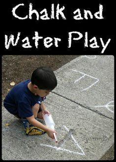 Chalk and Water Play!  A tried-and-true kid activity that can incorporate so much -- fine and gross motor skills, literacy, math, science.  All while being just plain FUN!