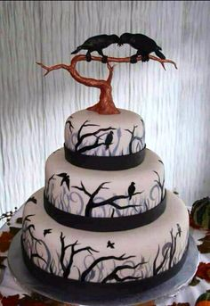 Maine wedding cakes, Maine Custom Cakes, specializing in unique specialty cakes that are made from scratch, frosted in homemade butter cream, and decorated with fondant. Bolo Halloween, Halloween Wedding Cakes, Fete Halloween, Halloween Cakes, Gothic Halloween, Gothic Birthday Cakes, Halloween 2013, Halloween Birthday, Scary Halloween