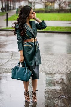 Valentina and Aveline: City Chic Downtown Girl :: Leather Head To Toe