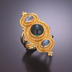 ring 22kt gold granulation tourmaline labradorite