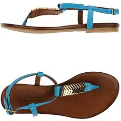 Inuovo Thong Sandal ($75) ❤ liked on Polyvore featuring shoes, sandals, azure, leather sandals, leather shoes, toe thongs, leather buckle sandals and thong sandals