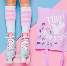 Colourful product photography and styling for Punky Pins by Marianne Taylor. Roller Derby, Roller Disco, Roller Skating, Soft Grunge, Grunge Accessories, Looks Kawaii, Roller Skate Shoes, My Pool, Skater Girls