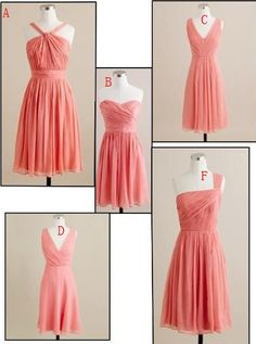Blush Pink/Coral/ Bridesmaid Dress Column Strapless/ V neckline/Halter Neckline/ chiffon ruched knee length bridesmaid dress Bridesmaid Pictures, One Shoulder Bridesmaid Dresses, Knee Length Bridesmaid Dresses, Wedding Party Dresses, Wedding Attire, Wedding Bridesmaids, Coral Bridesmaids, Tent Dress, Wedding Wishes