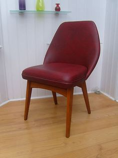 50 S 60 Tail Chair Vintage Red Vinyl Seat Retro Danish Style Easy Lounge