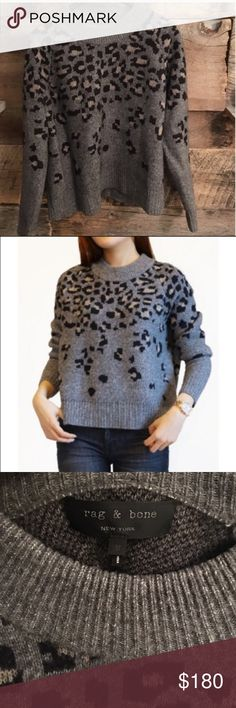 """Rag & Bone Isadora Leopard Sweater With its borrowed-from-the-boys oversized shape, this fuzzy pullover sweater is sure to be a throw-and-go favorite. A showering of intarsia-knit leopard spots takes the cozy style up a notch to effortlessly chic. Oversized, loose fit. 27"""" length (size Medium). 45% wool, 37% nylon, 9% mohair, 9% rag & bone Sweaters"""