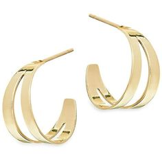 LANA JEWELRY 15-Year Anniversary Double Flat Huggie Hoop Earrings ($695) ❤ liked on Polyvore featuring jewelry, earrings, flat earrings, 14k earrings, flat hoop earrings, yellow gold hoop earrings and 14 karat gold earrings