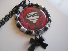 HELLO KITTY As Harley Quinn BATMAN Bottlecap by TinkerbevsTrinkets, $9.99----Omg! I love this!!