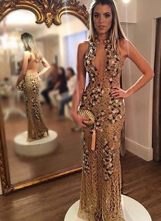 Gold embroidered party gown with clutch for My Closett