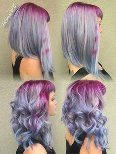 Bright purple roots and lavender tips colormelt Pastel Hair, Purple Hair, Love Hair, Gorgeous Hair, Color Melting Hair, Pam Pam, Cool Hair Color, Hair Colors, Pinterest Hair