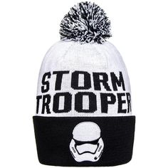 Star Wars Stormtrooper Bobble Hat (White/Black) (23 AUD) ❤ liked on Polyvore featuring accessories, hats, beanie, geek, star wars, white and black hat, black white hat, beanie cap hat, beanie hats and bobble beanie