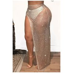 Sexy Sheer Mesh Sequined Split Side Maxi Skirt ($25) ❤ liked on Polyvore featuring skirts, floor length skirt, long sequin skirt, long brown skirt, brown maxi skirt and sequin skirt