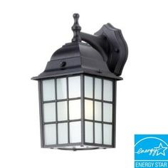 Efficient Lighting Rustic Wall-Mount Outdoor Powder-Coat Black Lantern with Bulbs-EL-100-123 at The Home Depot