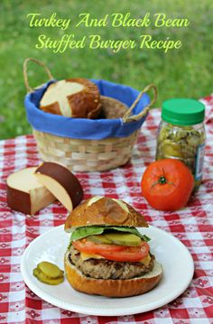 Turkey And Black Bean Stuffed Burger Recipe #hamburger #stuffed #recipe