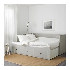 HEMNES Day-bed frame with 3 drawers, grey. A sofa, a single bed, a double bed and storage in one piece of furniture! If you like the style, you can combine it with other furniture in the HEMNES series. Murphy Bed Ikea, Murphy Bed Plans, Lit Banquette 2 Places, Hemnes Day Bed, Cama Ikea, Ikea Hemnes Daybed, Ikea Beds, Ikea Sofa Bed, Trundle Bed Ikea