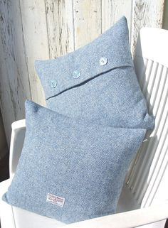 Pair of Harris Tweed cushion covers sky blue by RosesWorkshop, £68.00