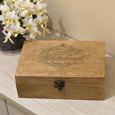 Engraved Tea Chest, Personalized Tea Storage Box, Tea Bag Organizer, Family Personalized Tea Box Family Customized Tea Box by PrisadPersonalDesign on Etsy Wooden Photo Box, Wooden Tea Box, Wooden Boxes, Tea Storage, Wood Book, Photo Storage, Tea Caddy, Hard Wood, Personalised Box