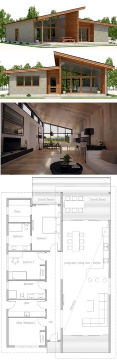 New House Plans Modern Small Living Rooms 68 Ideas House Plans One Story, New House Plans, Modern House Plans, Modern House Design, House Roof Design, Bungalows, House Plan With Loft, Loft House, Shipping Container House Plans