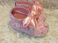 Hand Made Baby Girl Dress Shoes and Headband by Elfinacreation