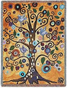 70x53 TREE OF LIFE Birds Contemporary Tapestry Afghan Throw Blanket
