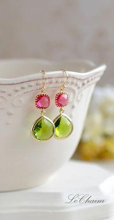 Fuchsia Pink Ruby Period Apple Green Dangle Earrings