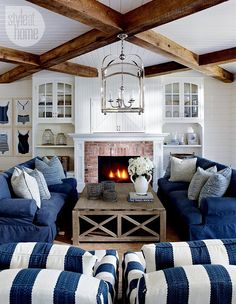 beaded board ceiling with beams and above fireplace;  Lake Muskoka Cottage with Coastal Interiors