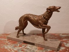 Antique French Bronze Art Deco Russian Dog by AngelFrenchAntiques