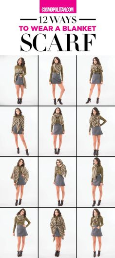 12 EASY WAYS TO STYLE A BLANKET SCARF: Use these fun and easy styling tips to make use of your favorite blanket scarf this fall and winter! Learn how to style it with coats and how to transform it into it's own unique top. Here are 12 simple and stylish w Mode Outfits, Winter Outfits, Fashion Outfits, Fashion Tips, Fashion Trends, Dress Winter, Fashion Scarves, Winter Shoes, Winter Dresses