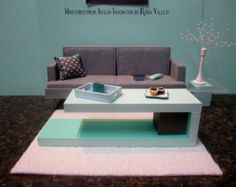 1/6th Scale Miniature Dollhouse Modern Coffee Table in pastel mint green and charcoal grey for Barbie, Blythe, and other fashion dolls